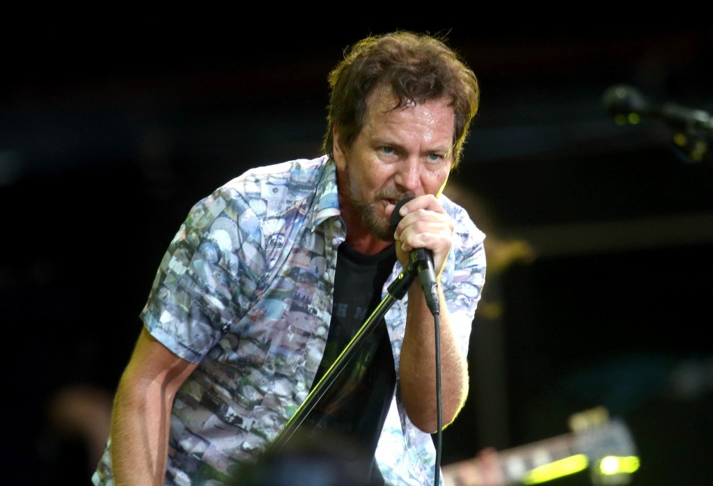 AUCKLAND, NEW ZEALAND - JANUARY 17:  Eddie Vedder of Pearl Jam performing at Western Springs Stadium during the 2014 Big Day Out Festival on January 17, 2014 in Auckland, New Zealand.  (Photo by Jason Oxenham/Getty Images)