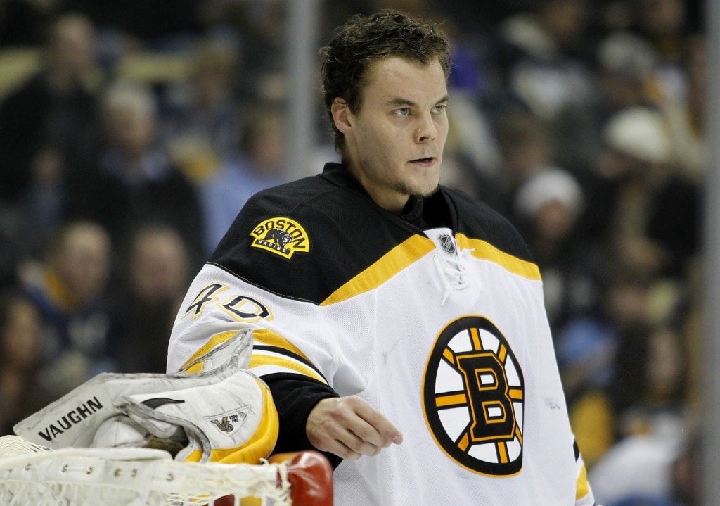PITTSBURGH, PA - JANUARY 07:  Tuukka Rask #40 of the Boston Bruins looks on during the game against the Pittsburgh Penguins at Consol Energy Center on January 7, 2015 in Pittsburgh, Pennsylvania.  (Photo by Justin K. Aller/Getty Images)